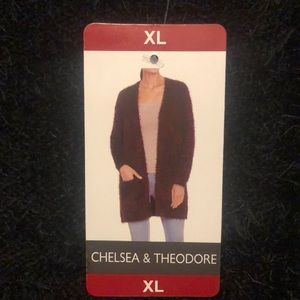 Chelsea & Theodore Open-Front Eyelash Cardigan